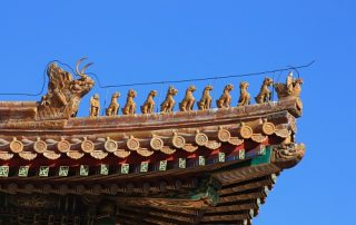Declared a World Heritage Site in 1987, The Forbidden City in Beijing, China is listed by UNESCO as the largest collection of preserved ancient wooden structures in the world.