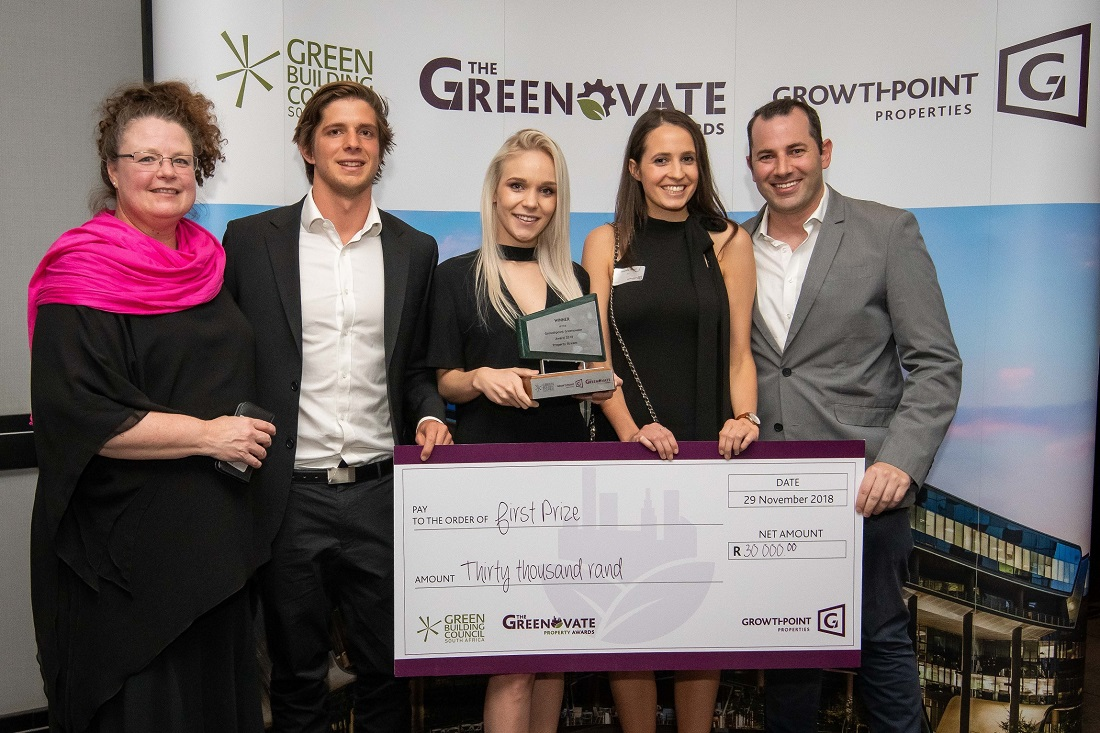 From left are: UCT supervisor Karen Le Jeune; Greenovate 2018 Property Award winners Michael Inskip, Morgan Knowles and Samantha Johnson; and UCT supervisor Saul Nurick. Image credit:Growthpoint Properties