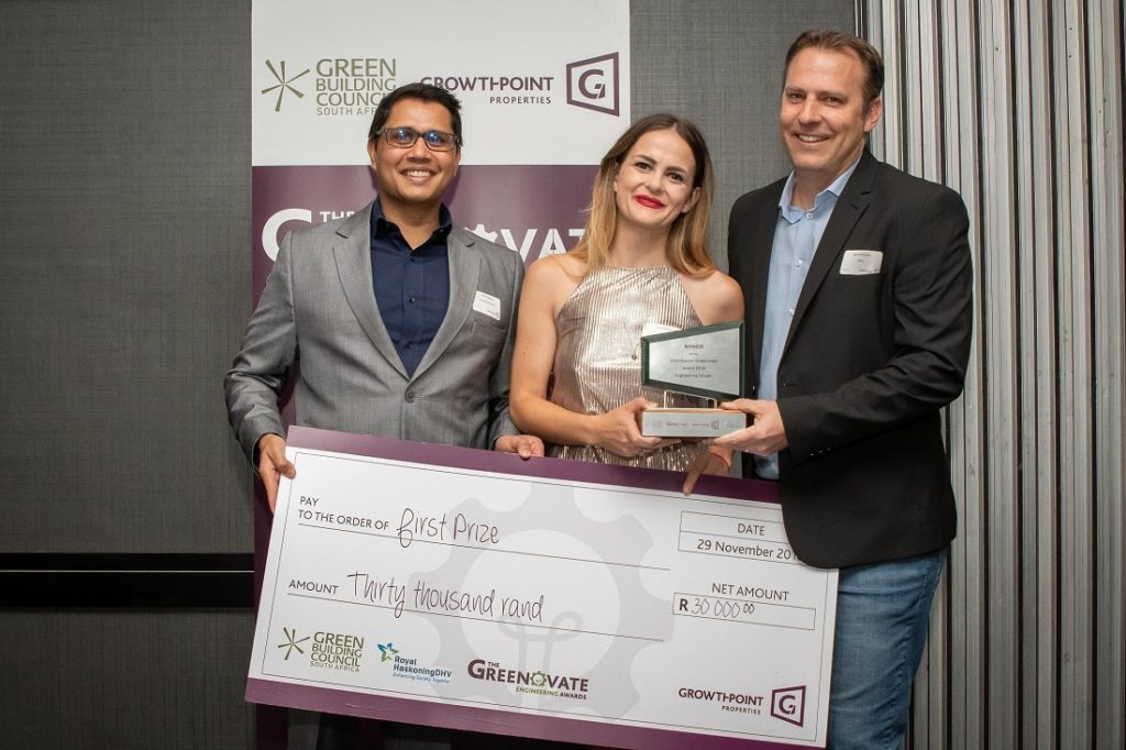 From left are: Mitesh Bhawan, Growthpoint Properties sustainability and utilities head; Greenovate 2018 Engineering Award winner Chloe Bolton; and GBCSA executive director Manfred Braune. Image credit:Growthpoint Properties