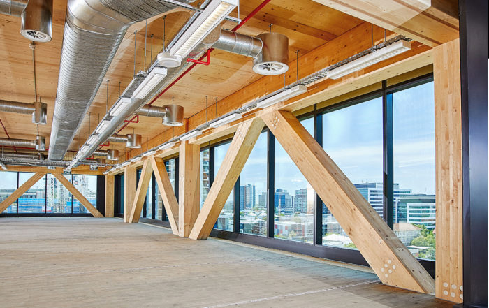 The structure is described as a future-ready intelligent building designed with cutting edge workspaces and technology which incorporates controlled lighting, heating and cooling from a single interface allowing access to data. Image: Lendlease