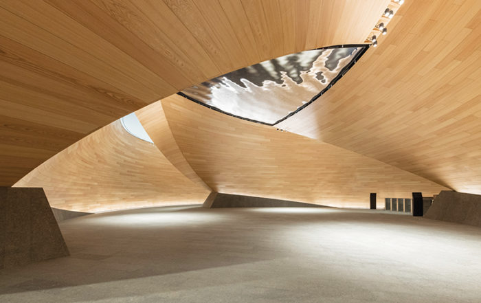 The Vortex is a literal and metaphorical 'twist' on the classic timber-panelled lobbies that define many London buildings.
