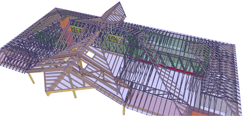 The PAMIR software makes it possible to edit truss and building dimensions and watch the roof re-frame dynamically.
