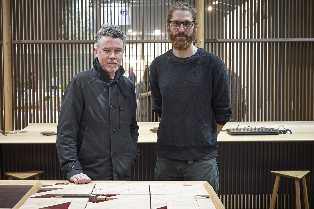 Designers Marcus Piper (left) standing with Adam Markowitz (right). Image credit: American Hardwood Export Council