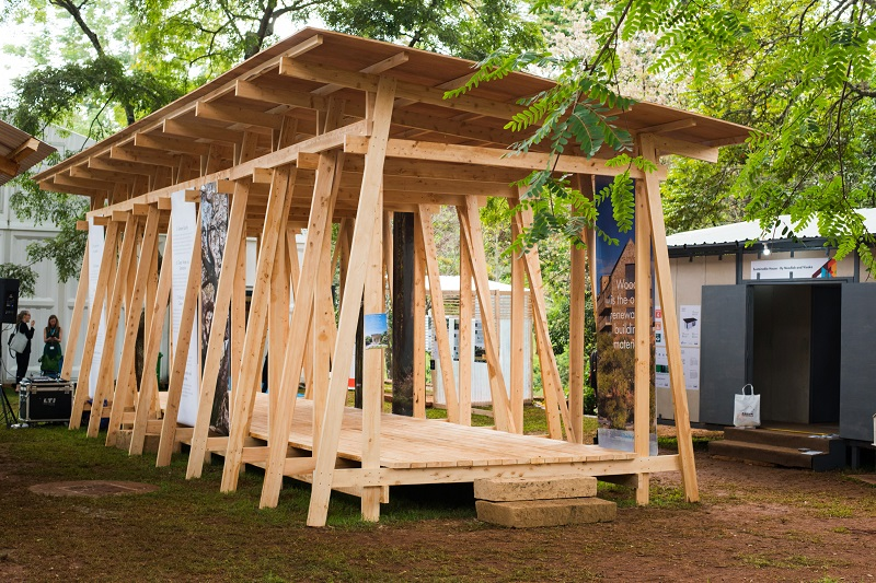 The Swedish Wood pavilion at the UN-Habitat Assembly which took place in Kenya. Image credit: SWEDISH WOOD