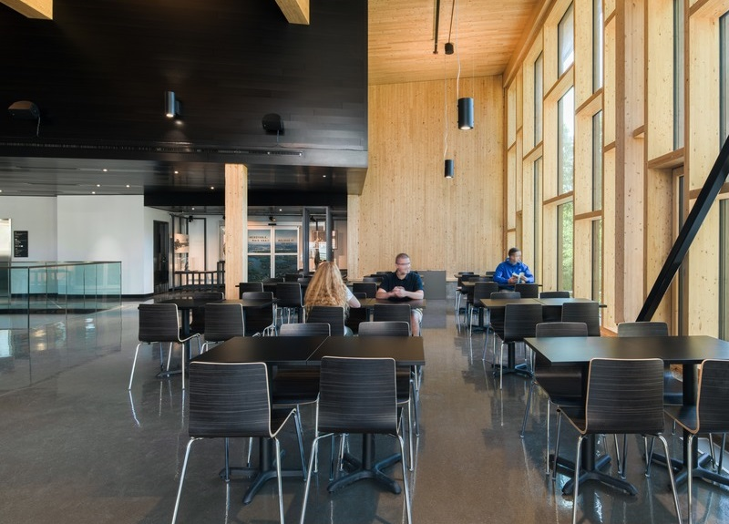 The use of wood was recommended for the building's interior. Image credit: David Boyer
