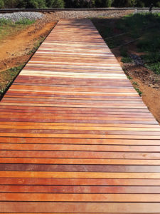 Merensky walkway exposure testing of various surface treatments under high foot traffic conditions. All images by Merensky Timber