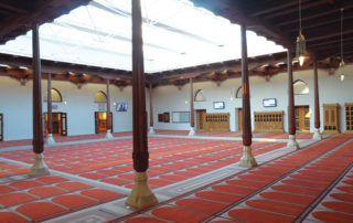 The completed courtyard pergola for the mosque.