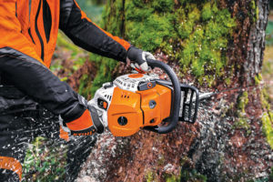 The inertia chain brake enhances the safer use of the chainsaw.STIHL