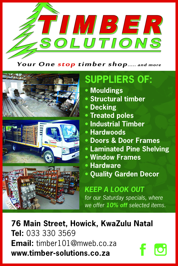 Timber Solutions is the first choice timber outlet in its region and achieves this by holding a wide variety of timber cuts at highly competitive prices. It specializes in structural timber, industrial timber, CCA treated poles, general tools and hardware as well as a wide range of quality garden decor.