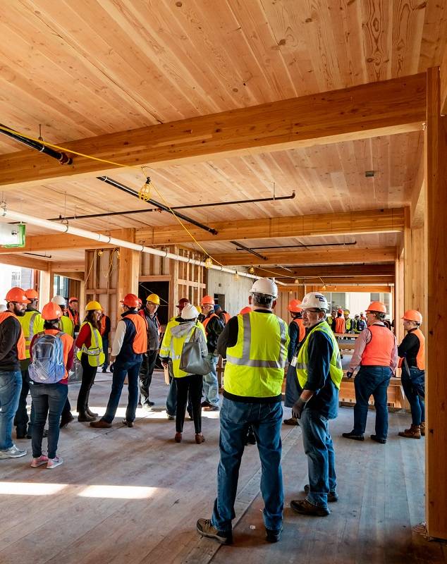 The highly anticipated mass timber building tours promise outstanding buildings, innovative materials, and plenty of networking with global professionals. Image credit: Mass Timber Conference