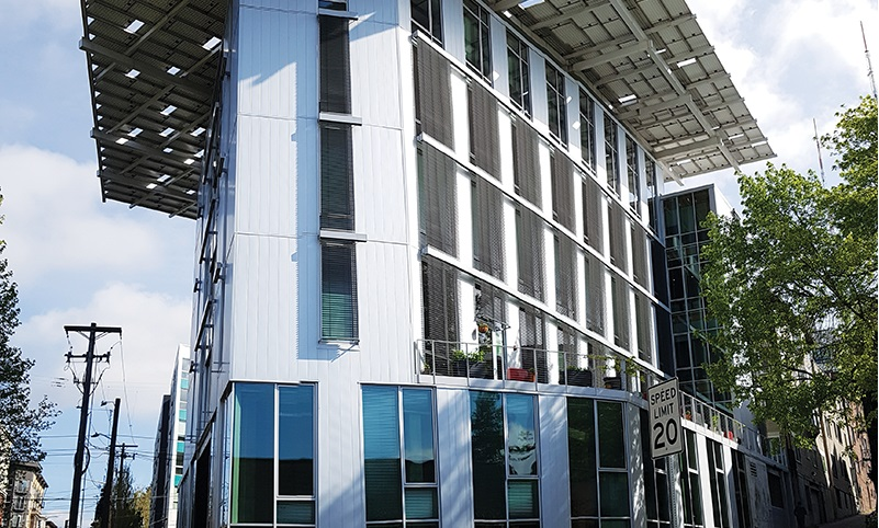 The greenest commercial building in the world – the Bullitt Center at the intersection of the Central District neighbourhood, and Capitol Hill, Seattle, Washington. Credit: Marloes Reinink