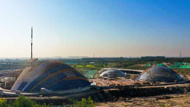 Some of the Botanical Dome structure components are 300 feet long. Image credit: Structurecraft