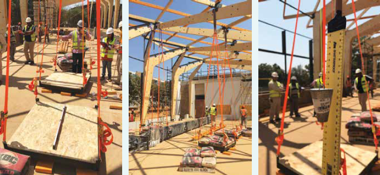The structure strength tests that were performed on site.