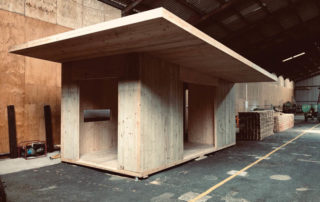 An example of an off-site construction of a cross laminated timber (CLT) cabin.