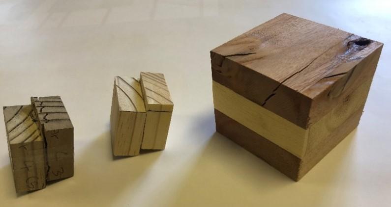 Adhesive bondline test samples for chemically treated wood. Image credit: Stellenbosch University